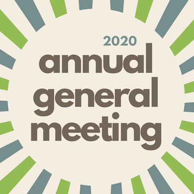 """text reads """"2020 annual general meeting"""" on a beige background, surrounded by green and blue burst lines"""
