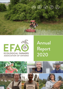 Cover of EFAO's 2020 Annual Report, with a tractor cutting hay and multiple smiling farmers