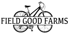 Field Good Farms logo with bicycle in background