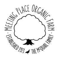 "Black text on white background ""Meeting Place Organic Farm"" logo with tree"
