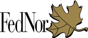 FedNor logo with gold maple leaf