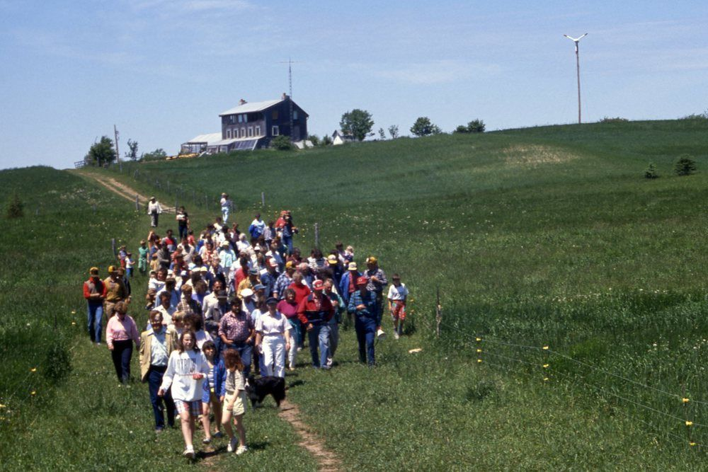Many people walking on farm tour